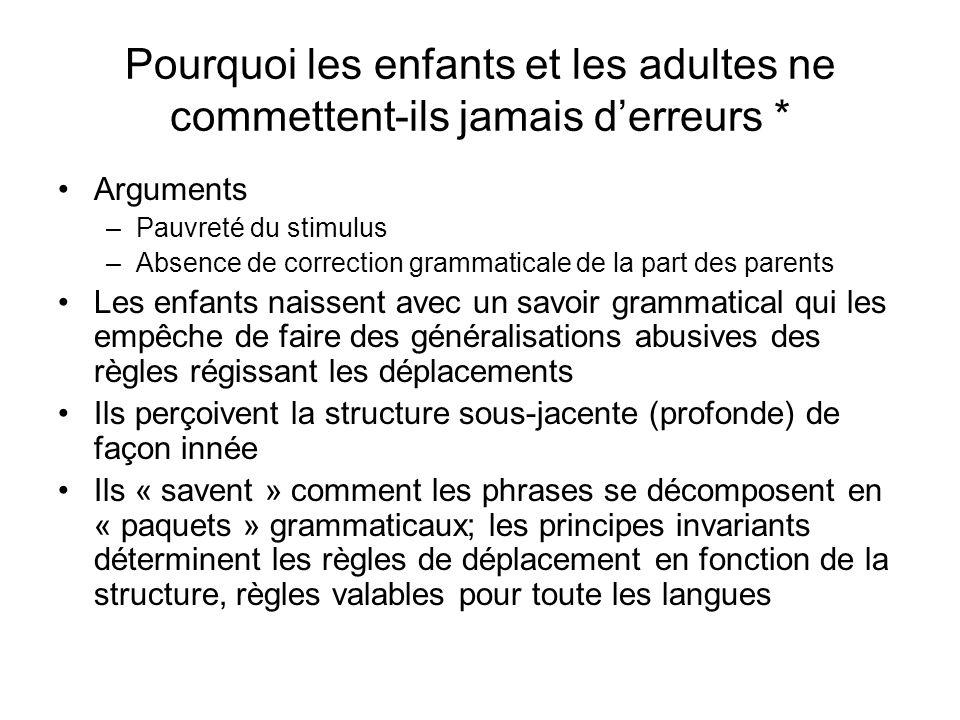Pourquoi les enfants et les adultes ne commettent-ils jamais derreurs * Arguments –Pauvreté du stimulus –Absence de correction grammaticale de la part
