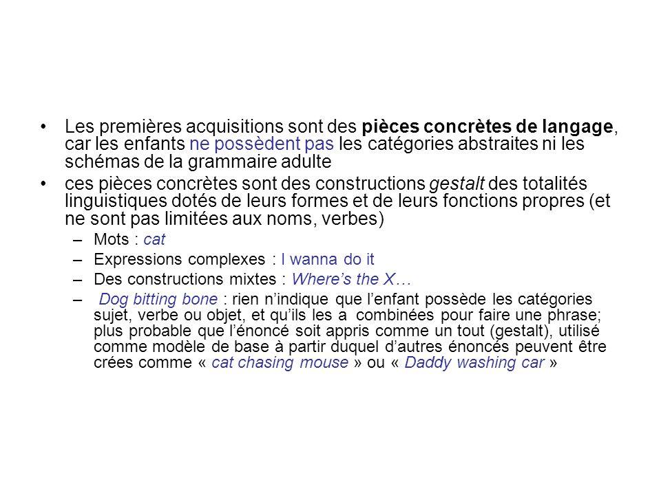 Les premières acquisitions sont des pièces concrètes de langage, car les enfants ne possèdent pas les catégories abstraites ni les schémas de la gramm
