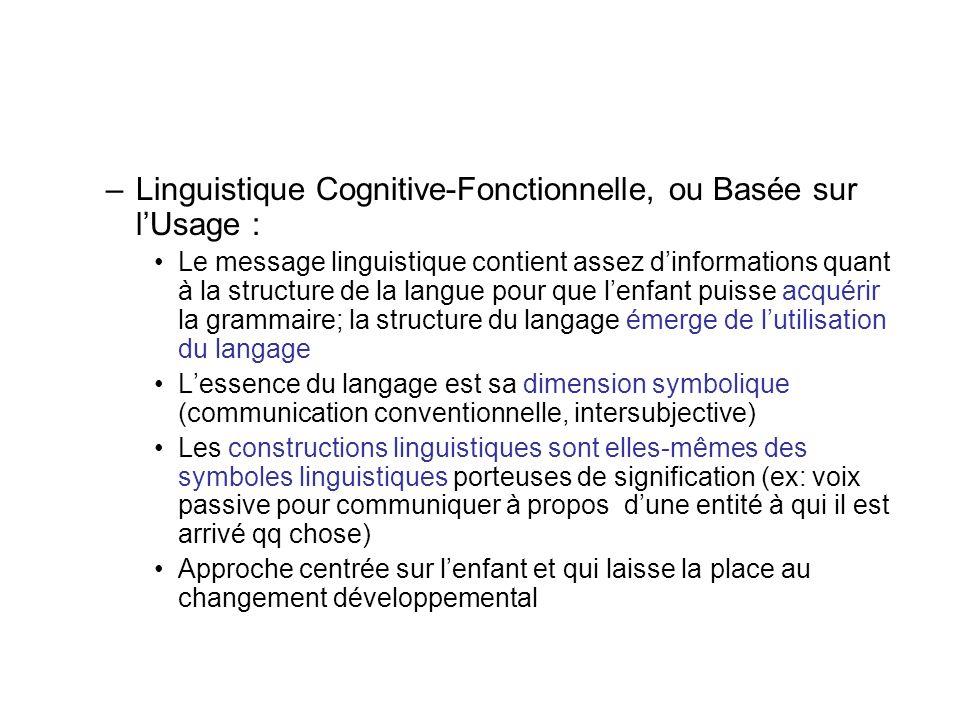 –Linguistique Cognitive-Fonctionnelle, ou Basée sur lUsage : Le message linguistique contient assez dinformations quant à la structure de la langue po