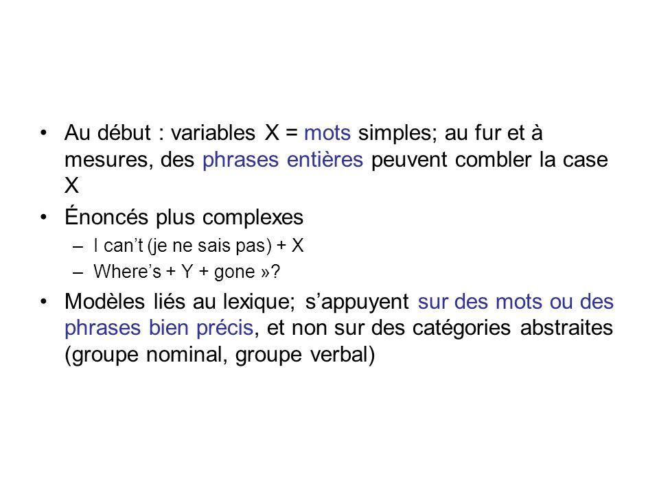 Au début : variables X = mots simples; au fur et à mesures, des phrases entières peuvent combler la case X Énoncés plus complexes –I cant (je ne sais