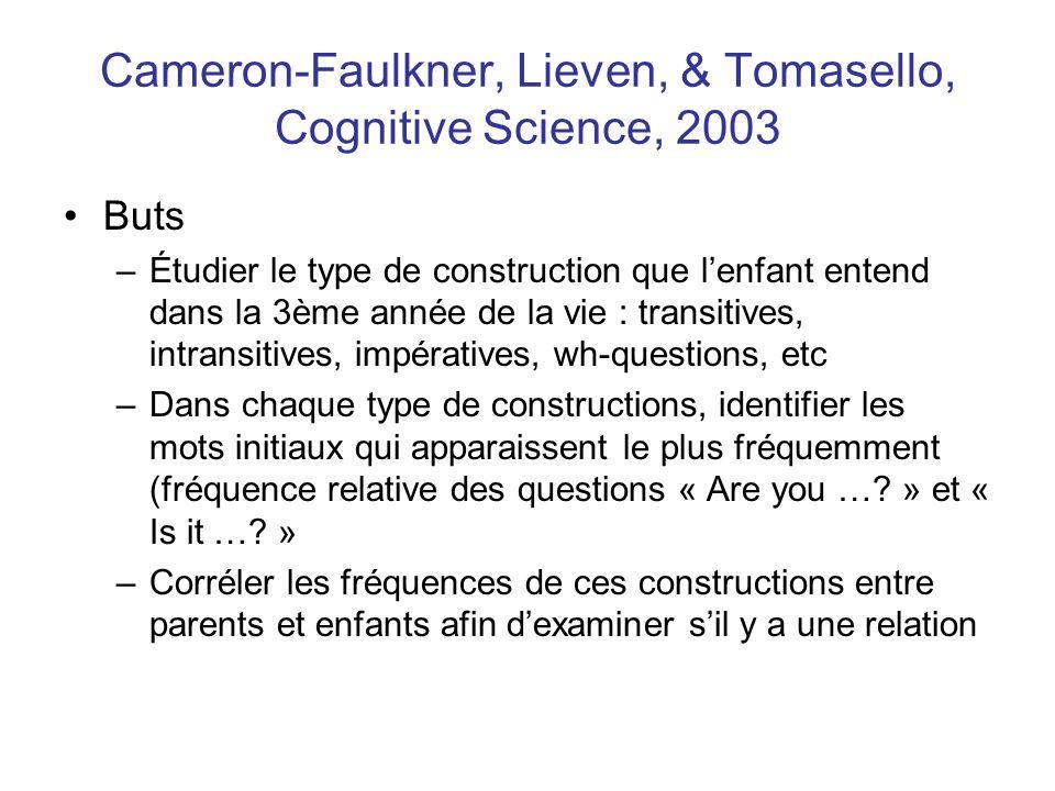 Cameron-Faulkner, Lieven, & Tomasello, Cognitive Science, 2003 Buts –Étudier le type de construction que lenfant entend dans la 3ème année de la vie :