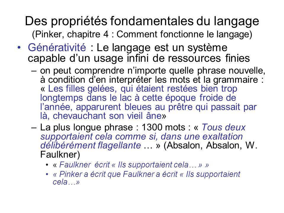 Des propriétés fondamentales du langage (Pinker, chapitre 4 : Comment fonctionne le langage) Générativité : Le langage est un système capable dun usag