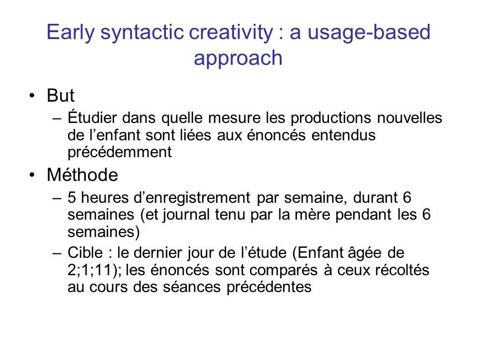 Early syntactic creativity : a usage-based approach But –Étudier dans quelle mesure les productions nouvelles de lenfant sont liées aux énoncés entend
