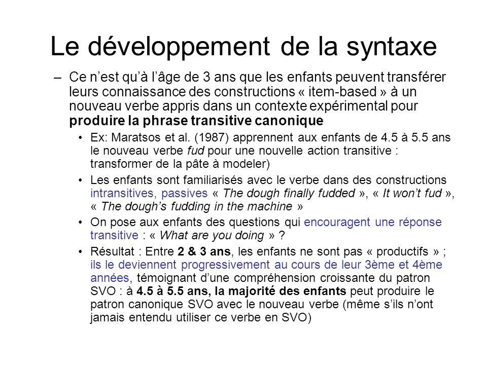 Le développement de la syntaxe –Ce nest quà lâge de 3 ans que les enfants peuvent transférer leurs connaissance des constructions « item-based » à un