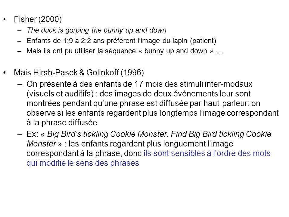 Fisher (2000) –The duck is gorping the bunny up and down –Enfants de 1;9 à 2;2 ans préfèrent limage du lapin (patient) –Mais ils ont pu utiliser la sé