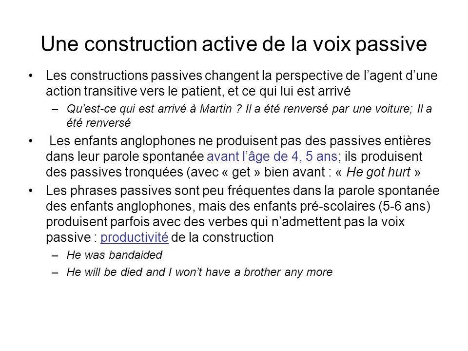Une construction active de la voix passive Les constructions passives changent la perspective de lagent dune action transitive vers le patient, et ce