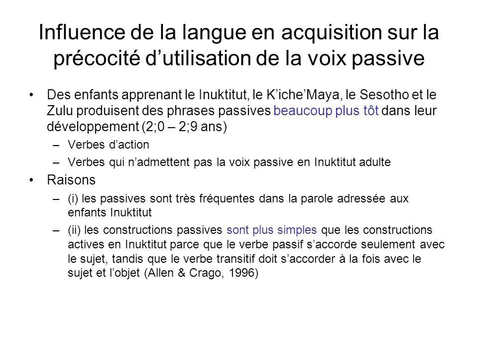 Influence de la langue en acquisition sur la précocité dutilisation de la voix passive Des enfants apprenant le Inuktitut, le KicheMaya, le Sesotho et