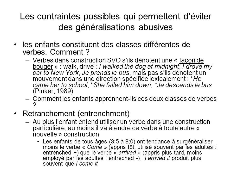 Les contraintes possibles qui permettent déviter des généralisations abusives les enfants constituent des classes différentes de verbes. Comment ? –Ve