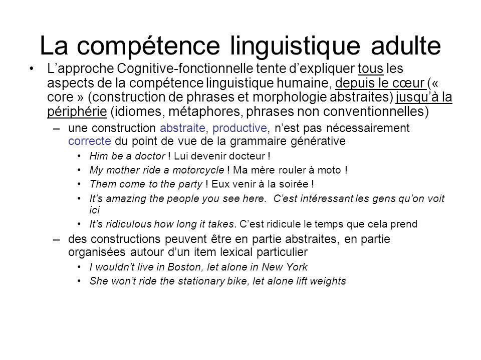 La compétence linguistique adulte Lapproche Cognitive-fonctionnelle tente dexpliquer tous les aspects de la compétence linguistique humaine, depuis le