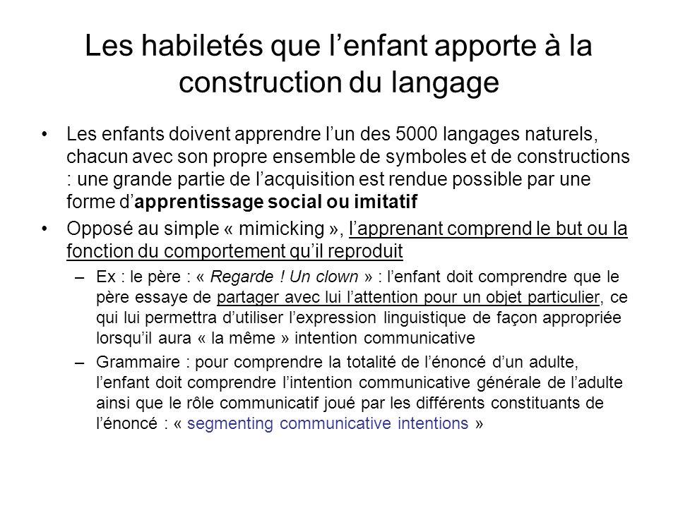 Les habiletés que lenfant apporte à la construction du langage Les enfants doivent apprendre lun des 5000 langages naturels, chacun avec son propre en