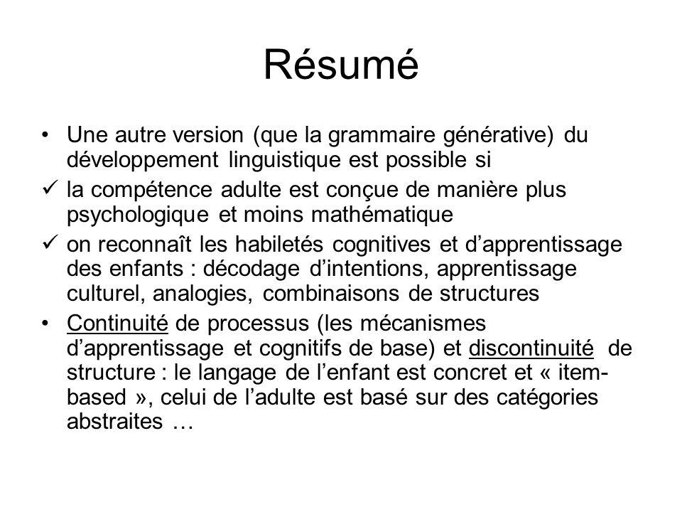 Résumé Une autre version (que la grammaire générative) du développement linguistique est possible si la compétence adulte est conçue de manière plus p