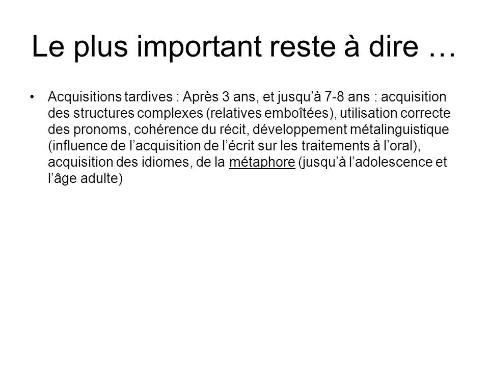 Le plus important reste à dire … Acquisitions tardives : Après 3 ans, et jusquà 7-8 ans : acquisition des structures complexes (relatives emboîtées),