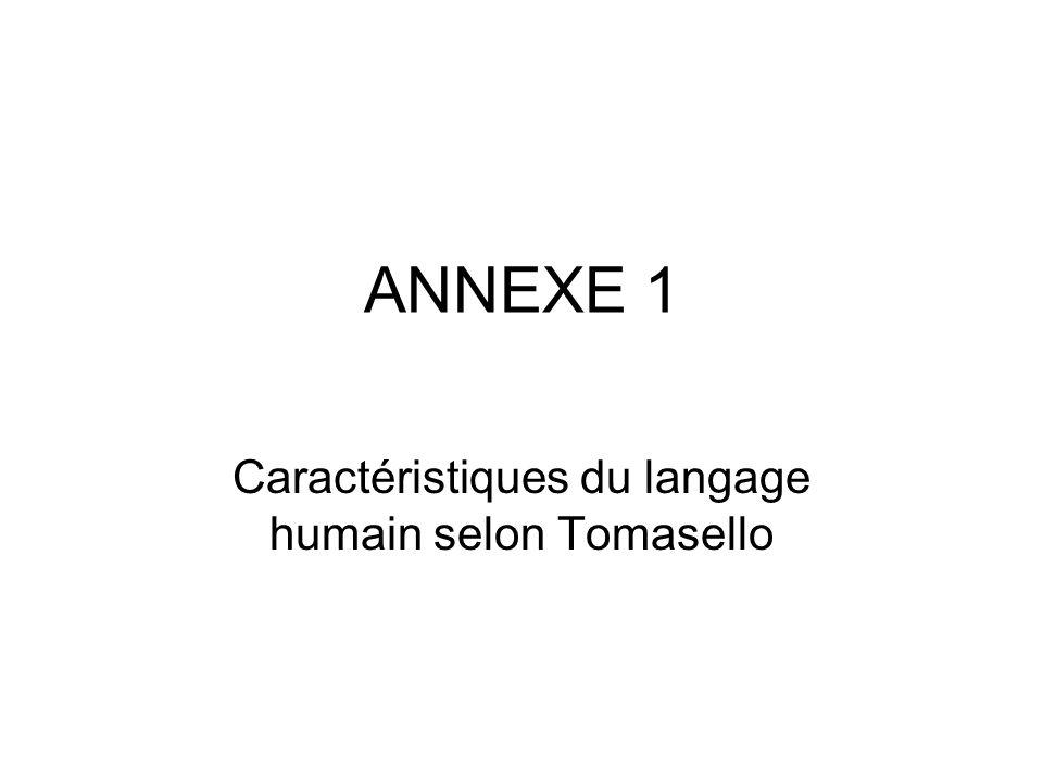 ANNEXE 1 Caractéristiques du langage humain selon Tomasello