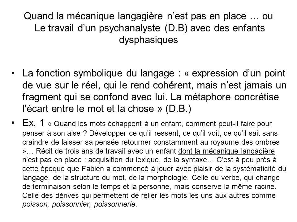 Quand la mécanique langagière nest pas en place … ou Le travail dun psychanalyste (D.B) avec des enfants dysphasiques La fonction symbolique du langag