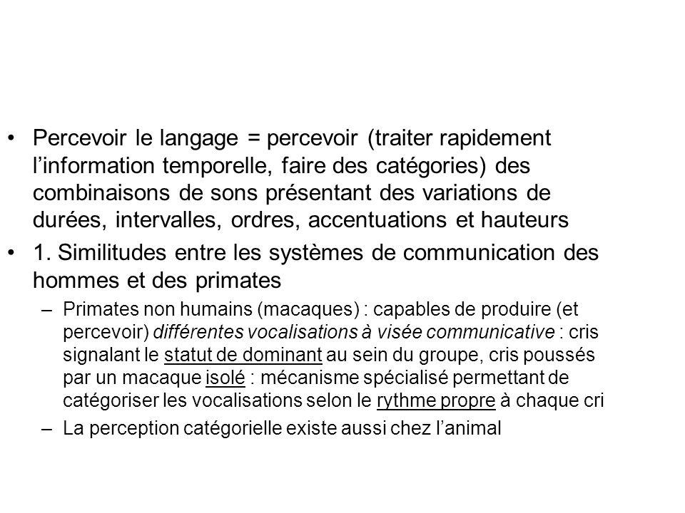 Percevoir le langage = percevoir (traiter rapidement linformation temporelle, faire des catégories) des combinaisons de sons présentant des variations