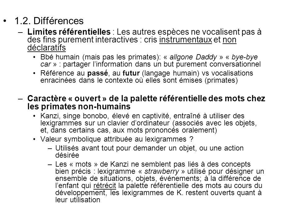 1.2. Différences –Limites référentielles : Les autres espèces ne vocalisent pas à des fins purement interactives : cris instrumentaux et non déclarati