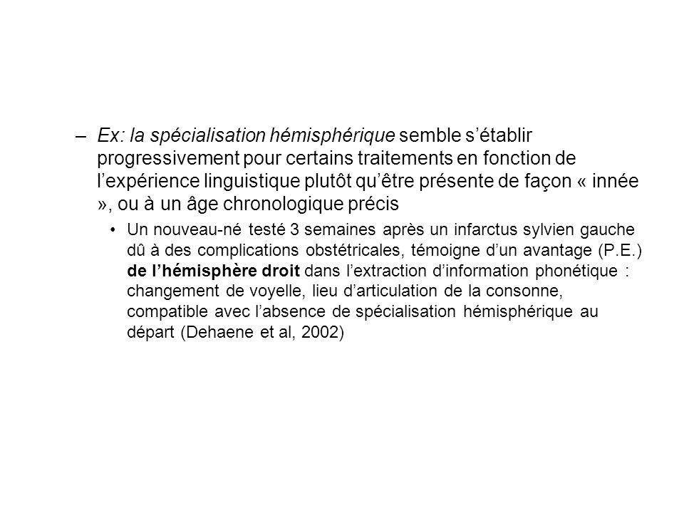 –Ex: la spécialisation hémisphérique semble sétablir progressivement pour certains traitements en fonction de lexpérience linguistique plutôt quêtre p