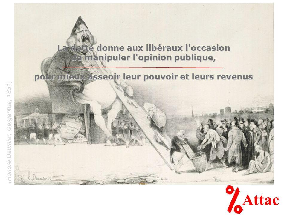 (Honoré Daumier, Gargantua, 1831) Attac La dette donne aux libéraux l occasion de manipuler l opinion publique, pour mieux asseoir leur pouvoir et leurs revenus
