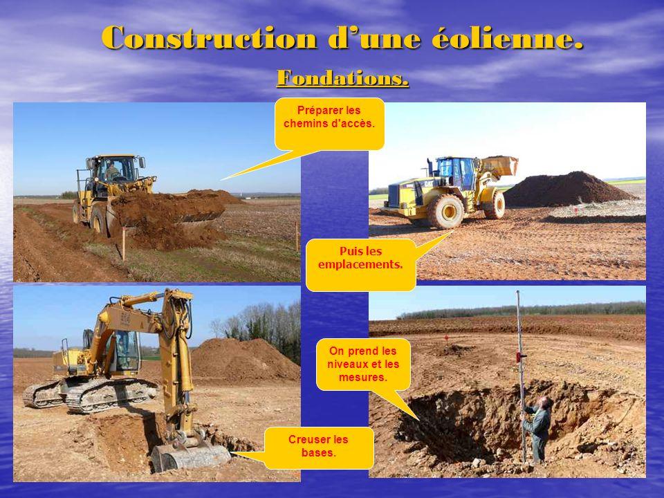 Construction dune éolienne. Fondations. On prend les niveaux et les mesures. Puis les emplacements. Préparer les chemins d'accès. Creuser les bases.