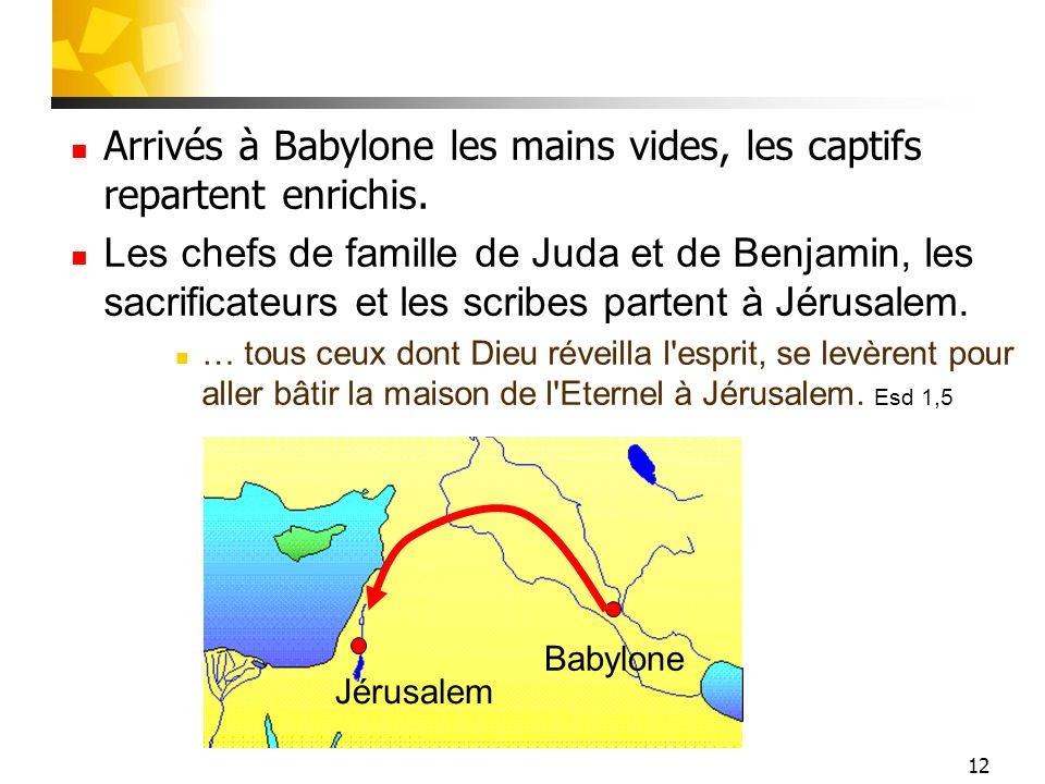12 Jérusalem Babylone Arrivés à Babylone les mains vides, les captifs repartent enrichis. Les chefs de famille de Juda et de Benjamin, les sacrificate