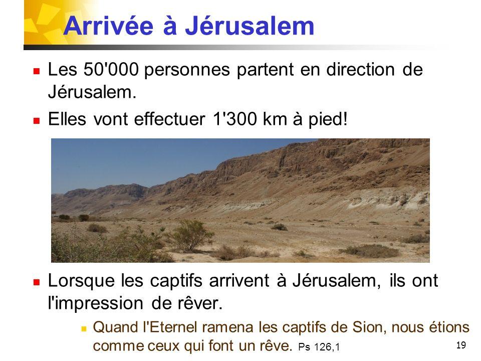 19 Les 50'000 personnes partent en direction de Jérusalem. Elles vont effectuer 1'300 km à pied! Lorsque les captifs arrivent à Jérusalem, ils ont l'i