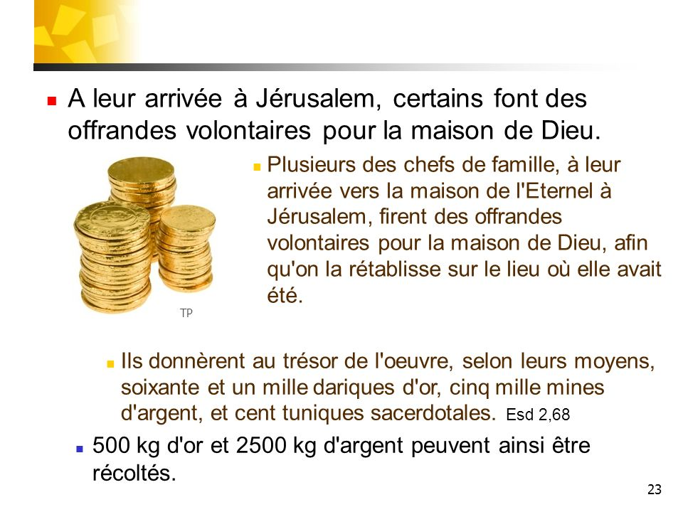 23 A leur arrivée à Jérusalem, certains font des offrandes volontaires pour la maison de Dieu. Plusieurs des chefs de famille, à leur arrivée vers la