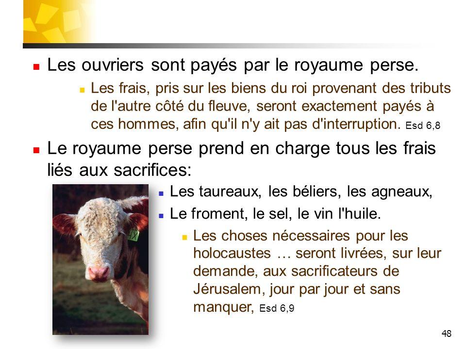 48 Les taureaux, les béliers, les agneaux, Le froment, le sel, le vin l'huile. Les choses nécessaires pour les holocaustes … seront livrées, sur leur