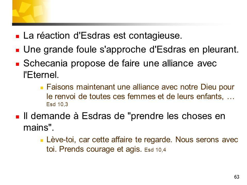 63 La réaction d'Esdras est contagieuse. Une grande foule s'approche d'Esdras en pleurant. Schecania propose de faire une alliance avec l'Eternel. Fai