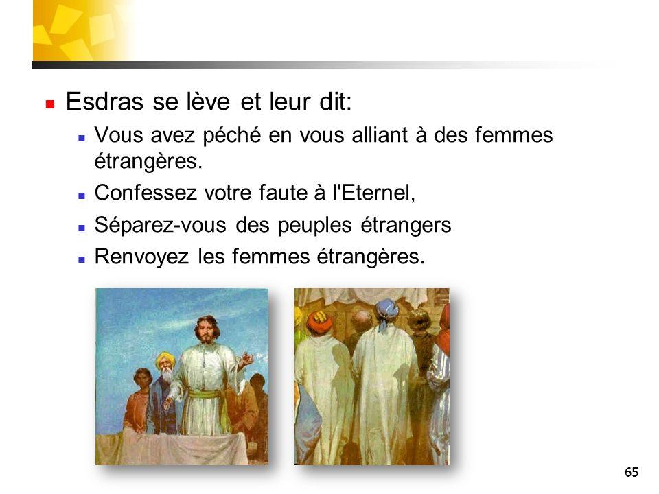 65 Esdras se lève et leur dit: Vous avez péché en vous alliant à des femmes étrangères. Confessez votre faute à l'Eternel, Séparez-vous des peuples ét