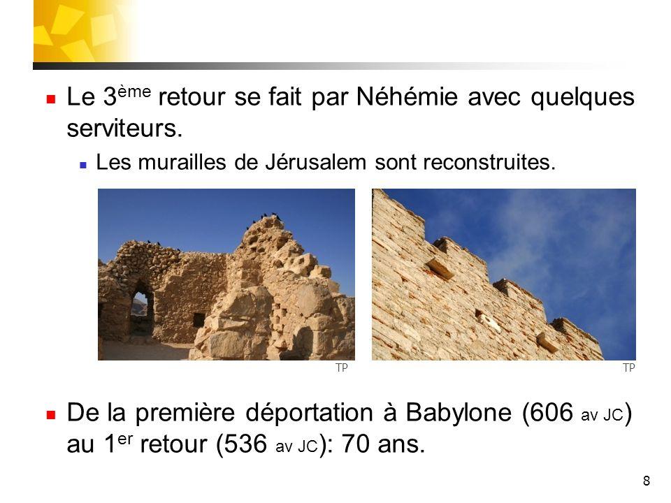 8 Le 3 ème retour se fait par Néhémie avec quelques serviteurs. Les murailles de Jérusalem sont reconstruites. De la première déportation à Babylone (