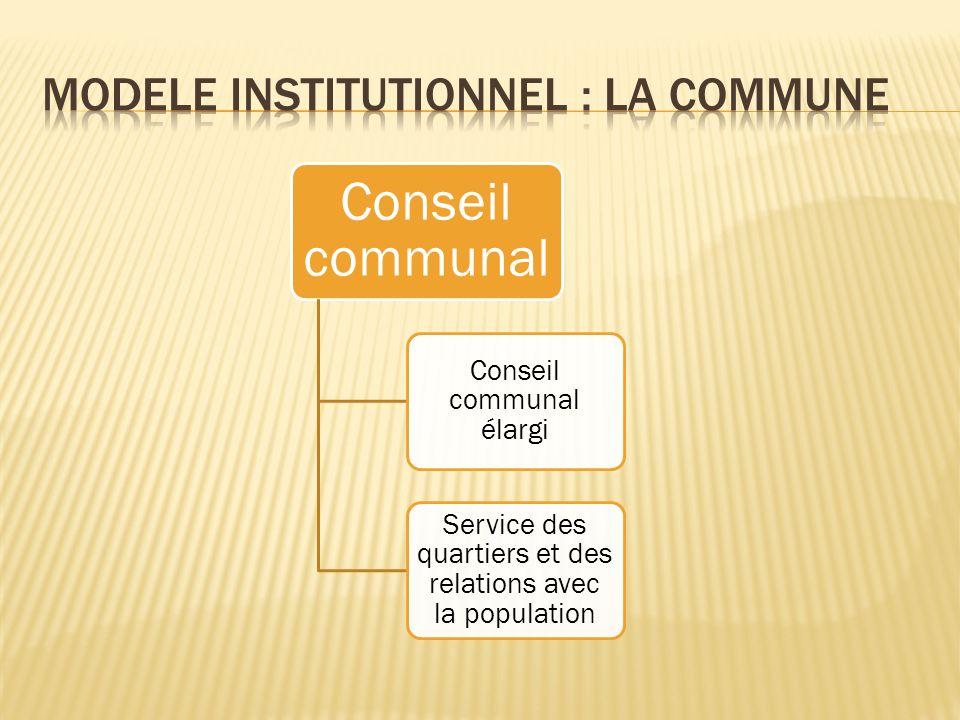 Conseil communal Conseil communal élargi Service des quartiers et des relations avec la population