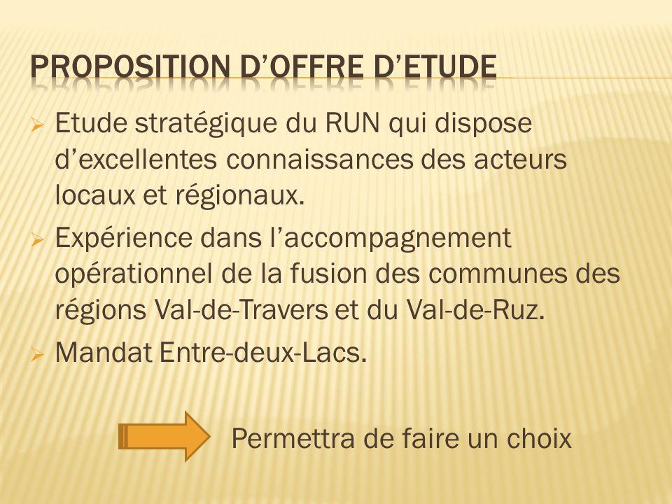 Etude stratégique du RUN qui dispose dexcellentes connaissances des acteurs locaux et régionaux.