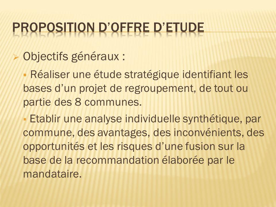 Objectifs généraux : Réaliser une étude stratégique identifiant les bases dun projet de regroupement, de tout ou partie des 8 communes.