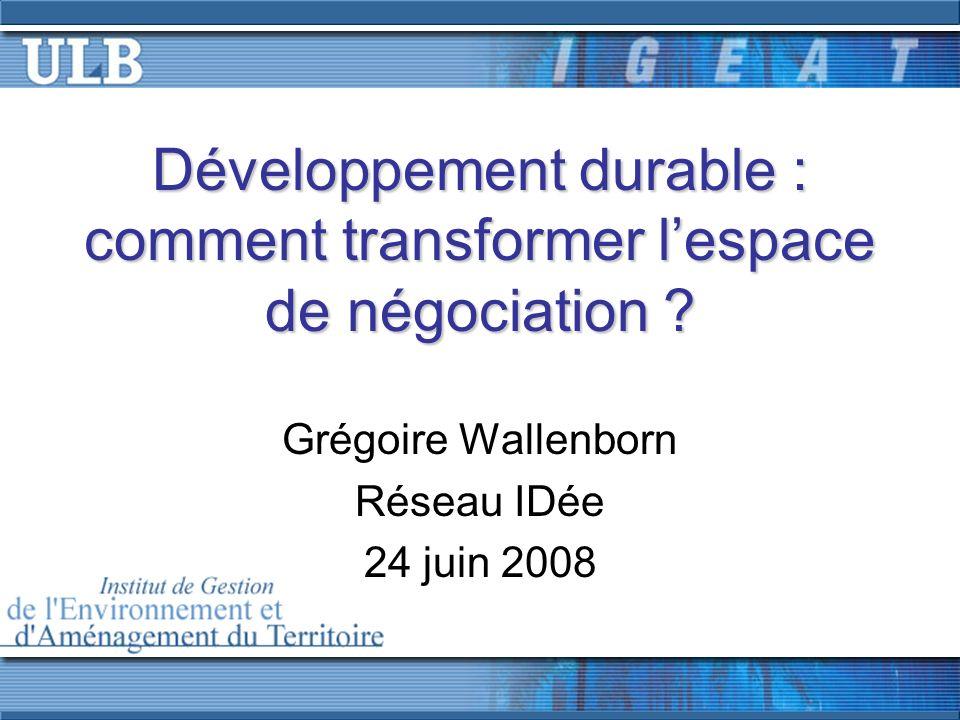 Ouverture despaces de négociation Enquêtes réalisées pour le CFDD (2002, 2005) Définition non essentialiste.
