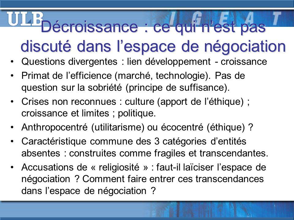 Décroissance : ce qui nest pas discuté dans lespace de négociation Questions divergentes : lien développement - croissance Primat de lefficience (marché, technologie).