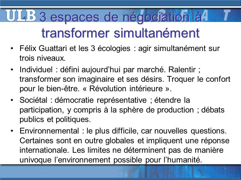 3 espaces de négociation à transformer simultanément Félix Guattari et les 3 écologies : agir simultanément sur trois niveaux.