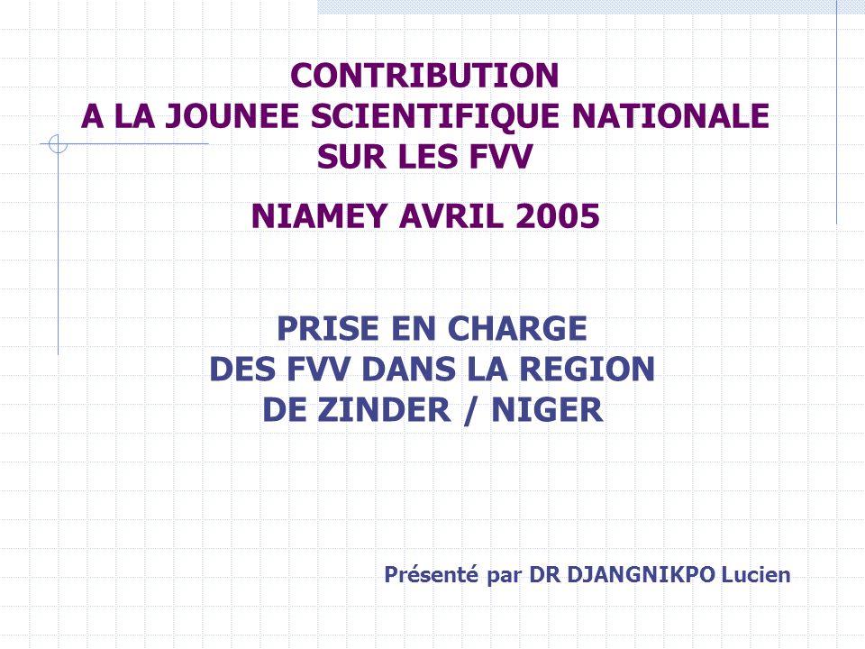 CONTRIBUTION A LA JOUNEE SCIENTIFIQUE NATIONALE SUR LES FVV NIAMEY AVRIL 2005 PRISE EN CHARGE DES FVV DANS LA REGION DE ZINDER / NIGER Présenté par DR DJANGNIKPO Lucien