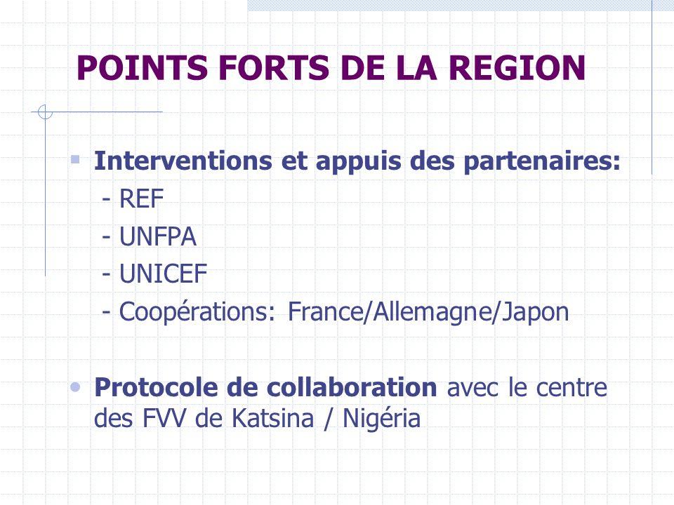 POINTS FORTS DE LA REGION Interventions et appuis des partenaires: - REF - UNFPA - UNICEF - Coopérations: France/Allemagne/Japon Protocole de collaboration avec le centre des FVV de Katsina / Nigéria