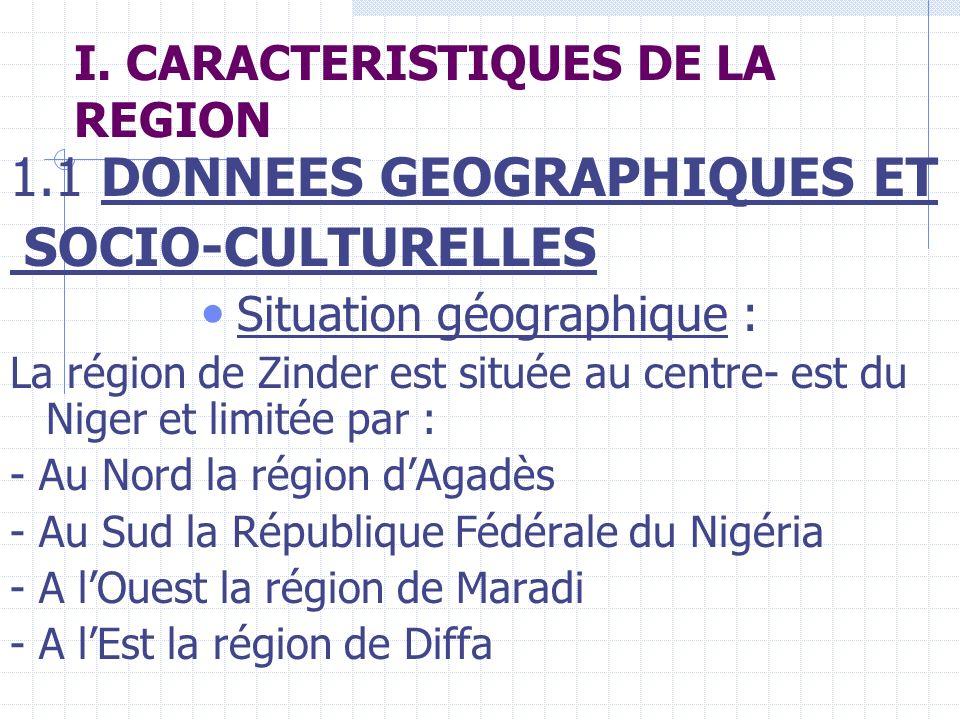 I. CARACTERISTIQUES DE LA REGION 1.1 DONNEES GEOGRAPHIQUES ET SOCIO-CULTURELLES Situation géographique : La région de Zinder est située au centre- est