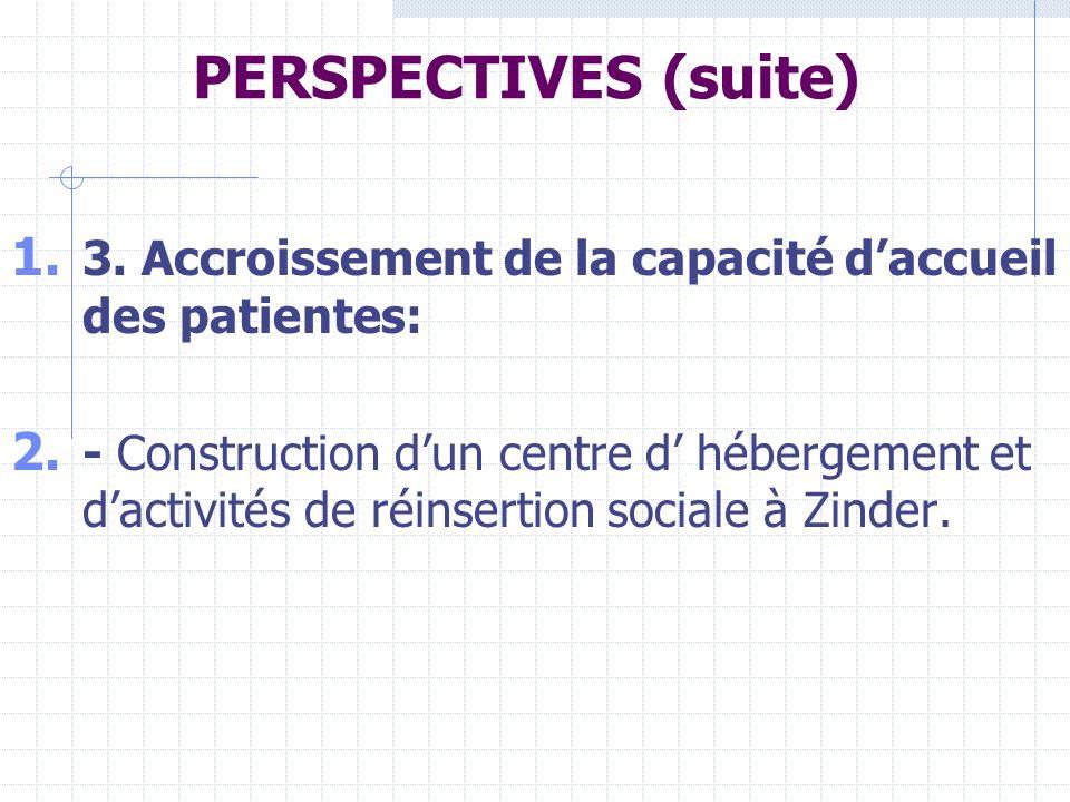 PERSPECTIVES (suite) 1.3. Accroissement de la capacité daccueil des patientes: 2.