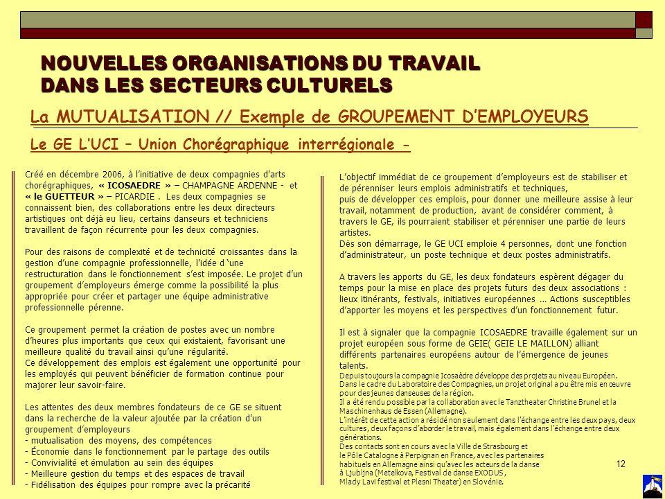 12 NOUVELLES ORGANISATIONS DU TRAVAIL DANS LES SECTEURS CULTURELS La MUTUALISATION // Exemple de GROUPEMENT DEMPLOYEURS Le GE LUCI – Union Chorégraphi