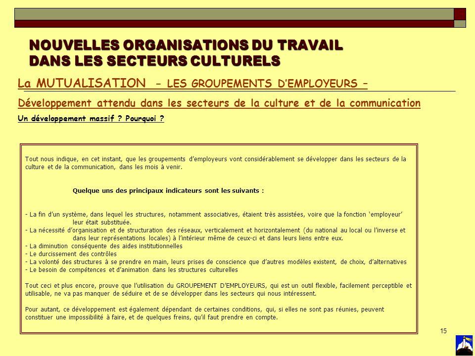 15 NOUVELLES ORGANISATIONS DU TRAVAIL DANS LES SECTEURS CULTURELS La MUTUALISATION - LES GROUPEMENTS DEMPLOYEURS – Développement attendu dans les sect