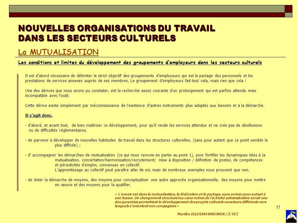 17 NOUVELLES ORGANISATIONS DU TRAVAIL DANS LES SECTEURS CULTURELS La MUTUALISATION Les conditions et limites du développement des groupements demploye