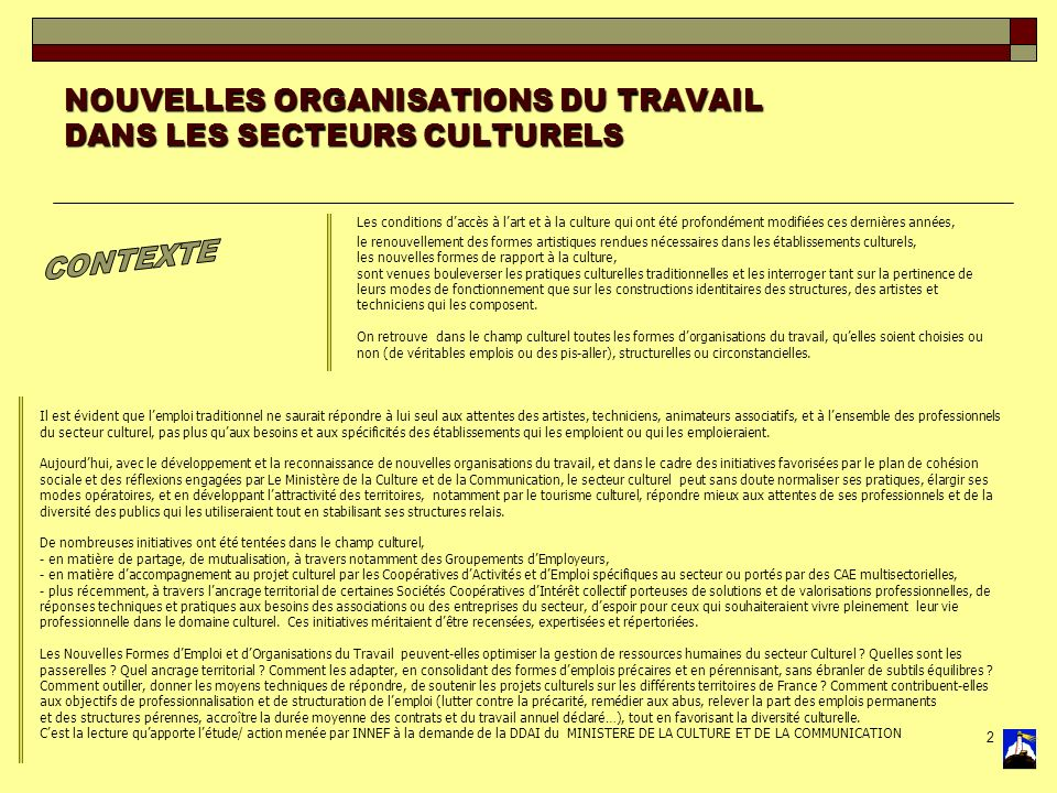 2 NOUVELLES ORGANISATIONS DU TRAVAIL DANS LES SECTEURS CULTURELS Les conditions daccès à lart et à la culture qui ont été profondément modifiées ces d