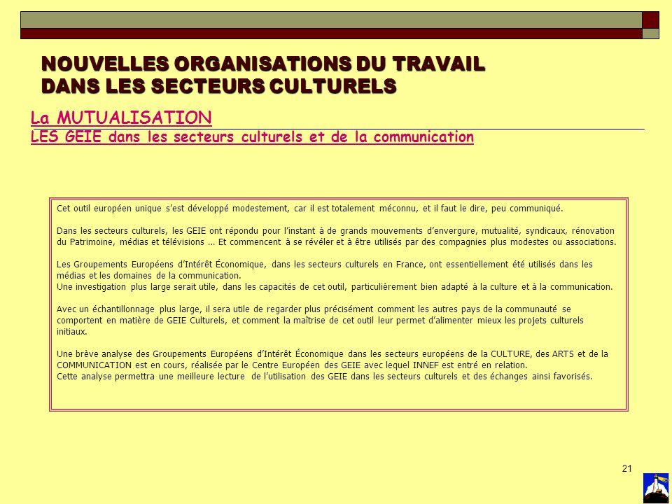21 NOUVELLES ORGANISATIONS DU TRAVAIL DANS LES SECTEURS CULTURELS La MUTUALISATION LES GEIE dans les secteurs culturels et de la communication Cet out