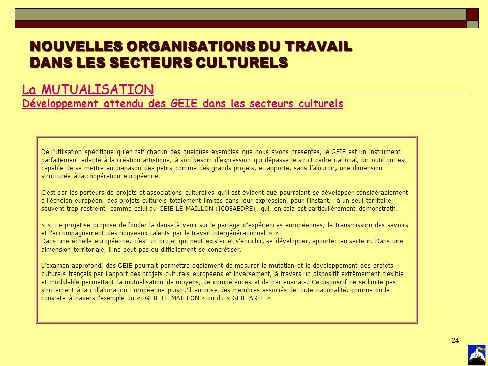 24 NOUVELLES ORGANISATIONS DU TRAVAIL DANS LES SECTEURS CULTURELS La MUTUALISATION Développement attendu des GEIE dans les secteurs culturels De lutil