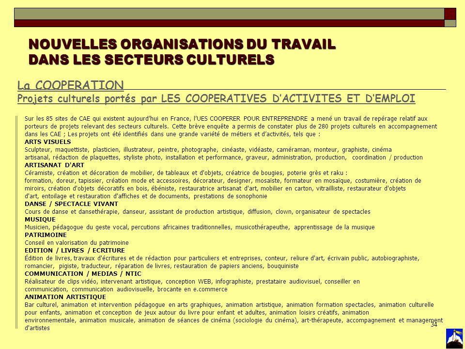 34 NOUVELLES ORGANISATIONS DU TRAVAIL DANS LES SECTEURS CULTURELS La COOPERATION Projets culturels portés par LES COOPERATIVES DACTIVITES ET DEMPLOI S