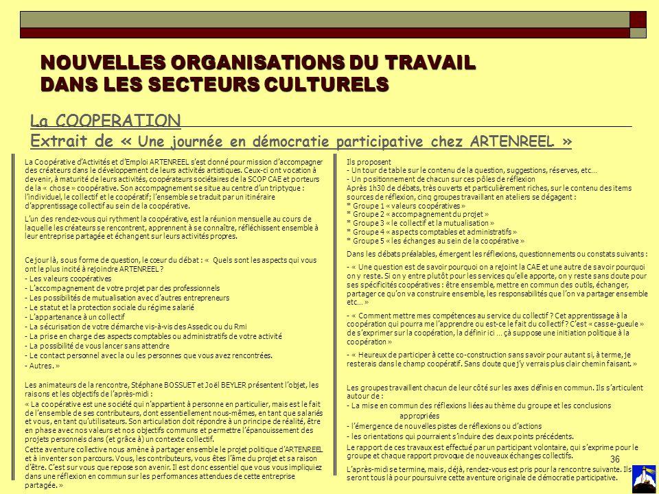 36 NOUVELLES ORGANISATIONS DU TRAVAIL DANS LES SECTEURS CULTURELS La COOPERATION Extrait de « Une journée en démocratie participative chez ARTENREEL »