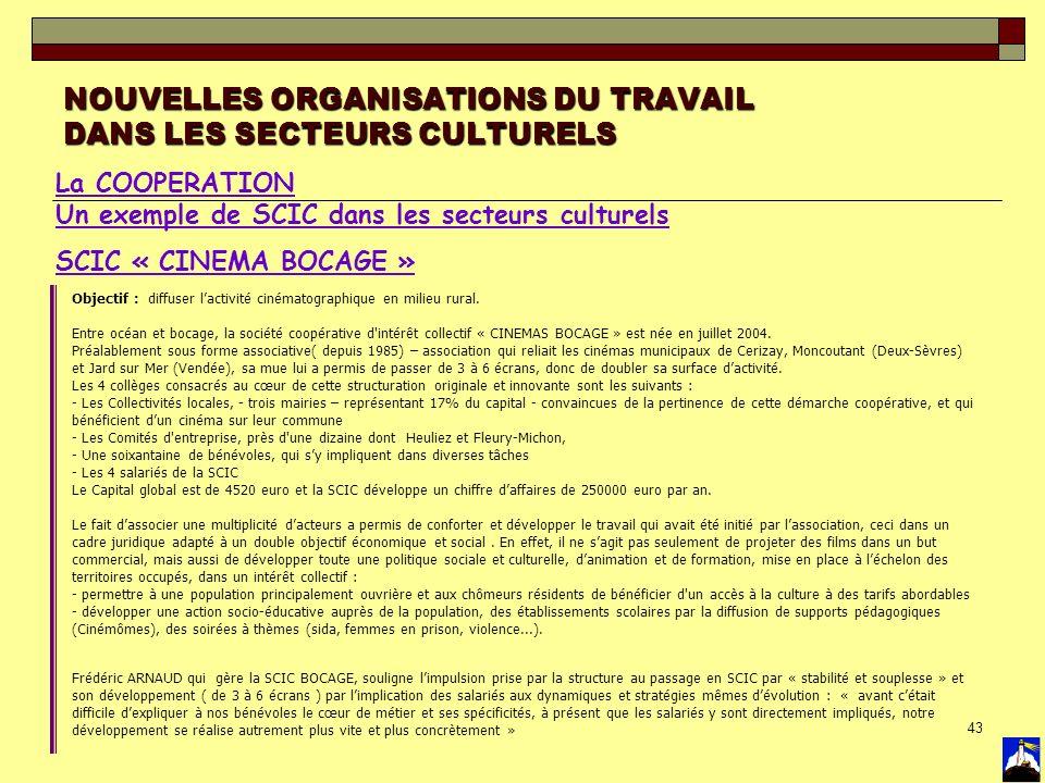 43 NOUVELLES ORGANISATIONS DU TRAVAIL DANS LES SECTEURS CULTURELS La COOPERATION Un exemple de SCIC dans les secteurs culturels SCIC « CINEMA BOCAGE »