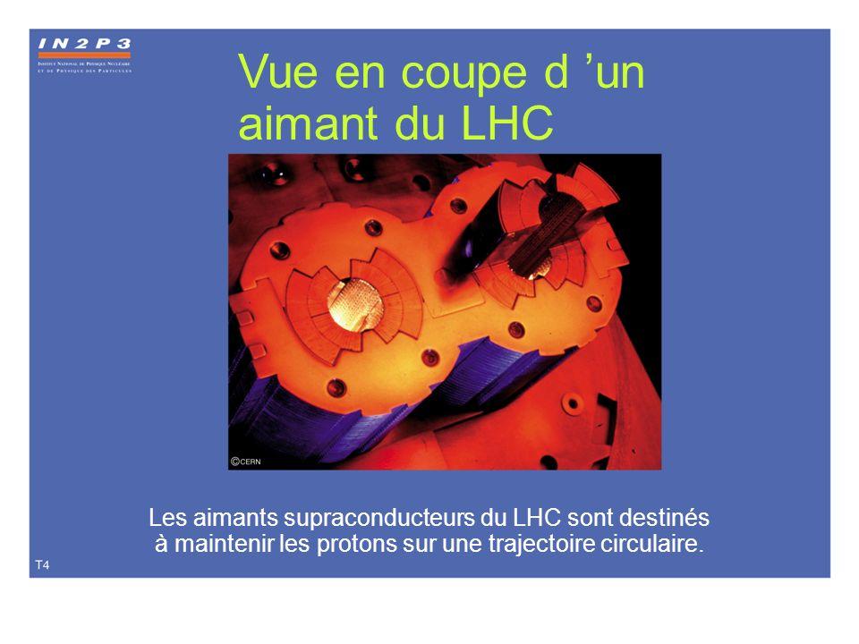 T04 Vue en coupe d un aimant du LHC Les aimants supraconducteurs du LHC sont destinés à maintenir les protons sur une trajectoire circulaire.